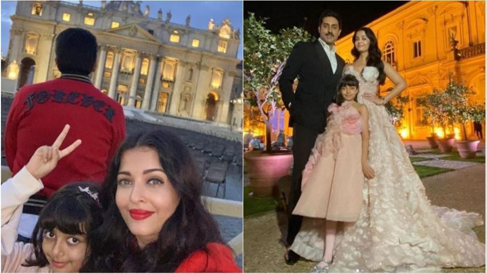 Aishwarya Rai, husband and actor Abhishek Bachchan and their daughter Aaradhya are in Italy.