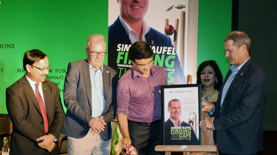 "BCCI President Sourav Ganguly along with Andrew Ford and Simon Taufel during the launch of the book by Taufel--""Finding the Gaps"", in Kolkata, West Bengal. (ANI)"