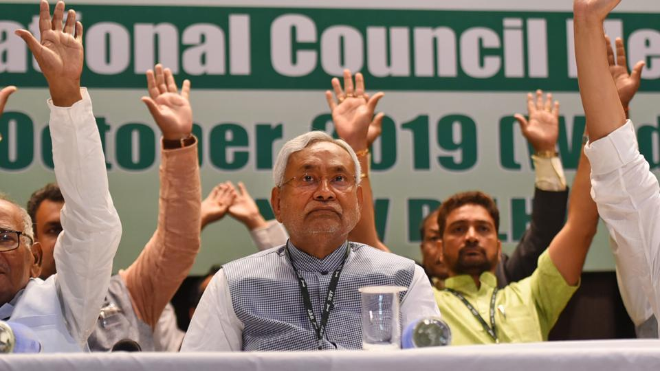 Bihar chief minister and Janata Dal United president, Nitish Kumar during the National Council Meeting of the party in New Dellhi,  October 30, 2019.