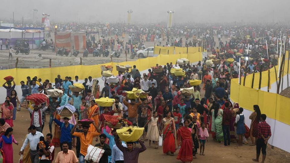 People celebrate Chhath in Bihar.