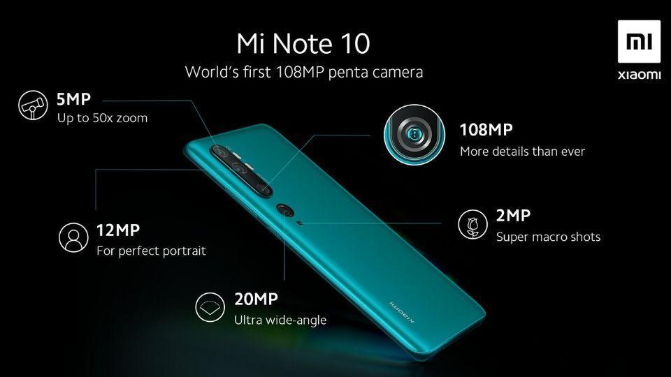 Xiaomi Mi Note 10 penta camera setup.
