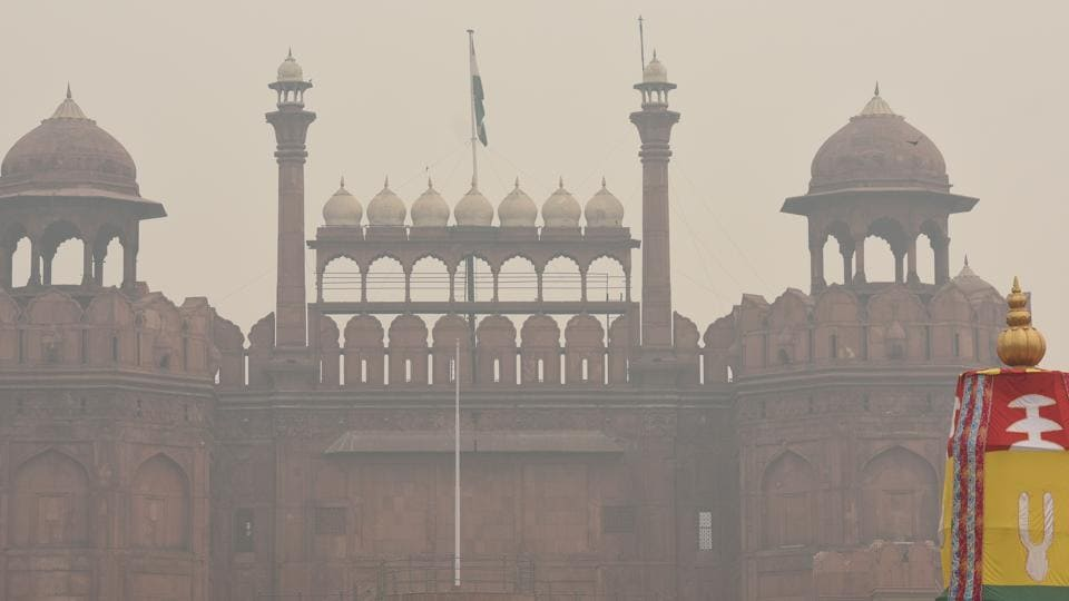 A view of Red Fort shrouded in smog in Old Delhi.