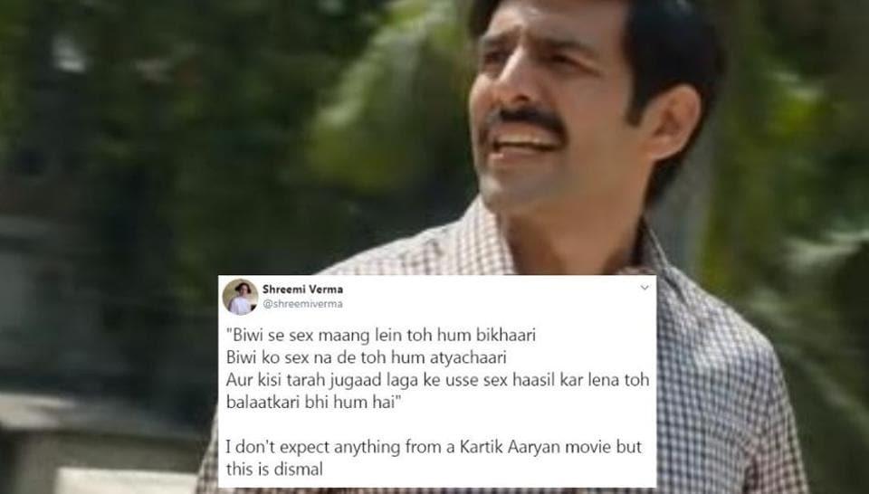 Kartik Aaryan in a still from the Pati Patni Aur Woh trailer.