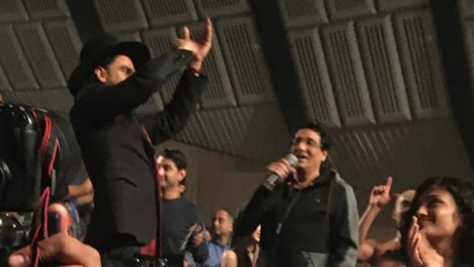 Ranveer Singh applauds Shiamak Davar at the Selcouth show.