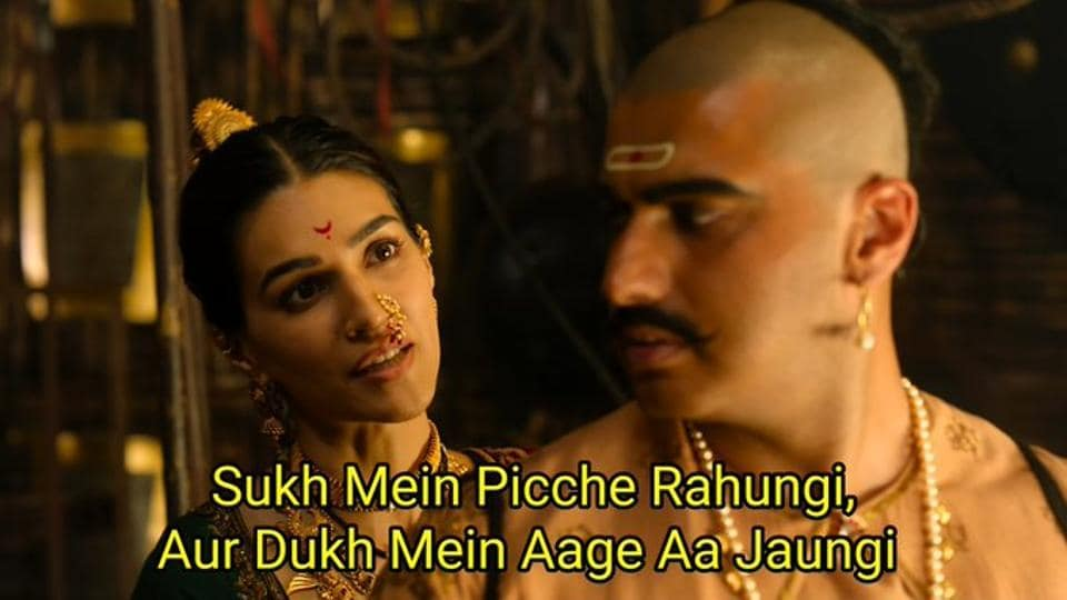 Kriti Sanon's dialogue in the Panipat trailer has turned into a popular meme.
