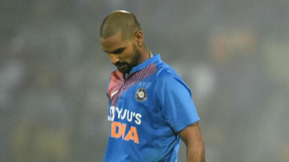 New Delhi: Indian batsman Shikhar Dhawan leaves the field after being dismissed.