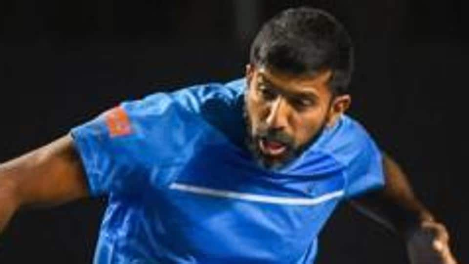 Tennis player Rohan Bopanna during a match against Leander Paes and Reyes Varela.