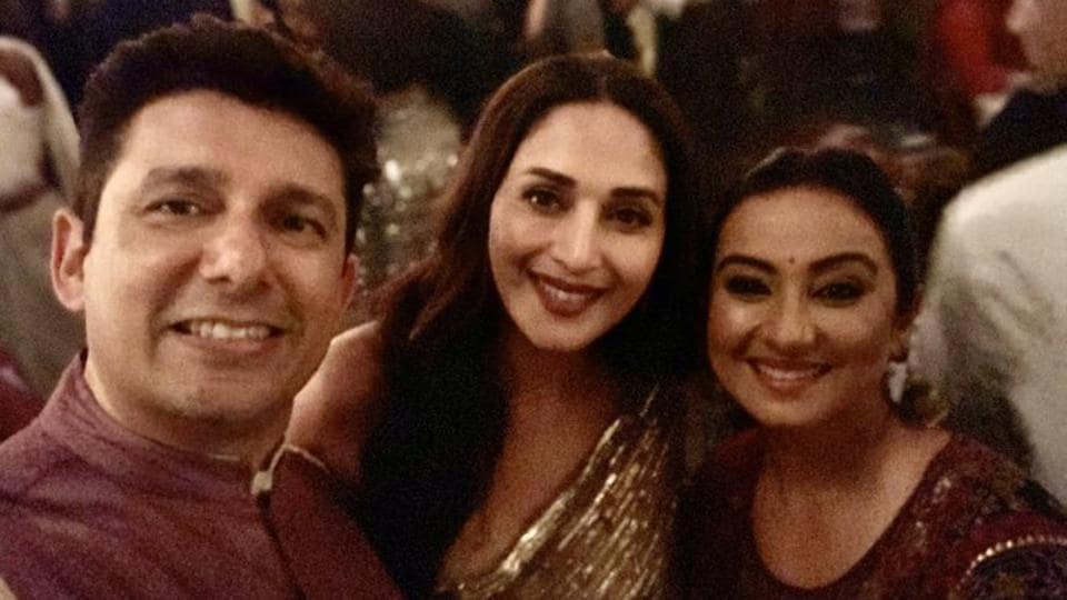 Divya Dutta with Madhuri Dixit and Dr Sriram Nene at a Diwali party.