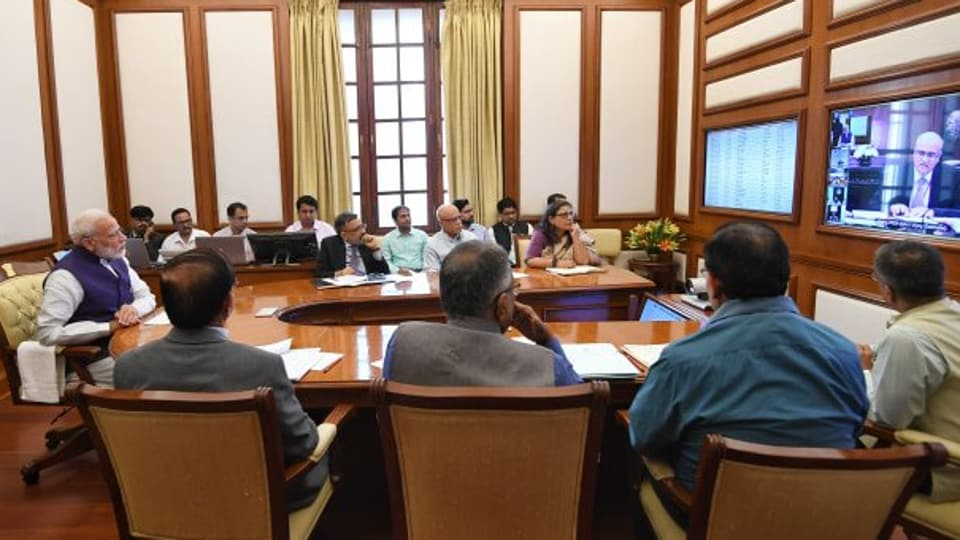 PM Modi chaired the 31st interaction through PRAGATI — the ICT based multi-modal platform for Pro-Active Governance and Timely Implementation on Nov 6, 2019. (Photo @narendramodi)