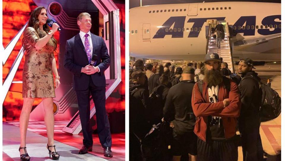 Luke Harper with WWE superstars at the Saudi Arabia airport.