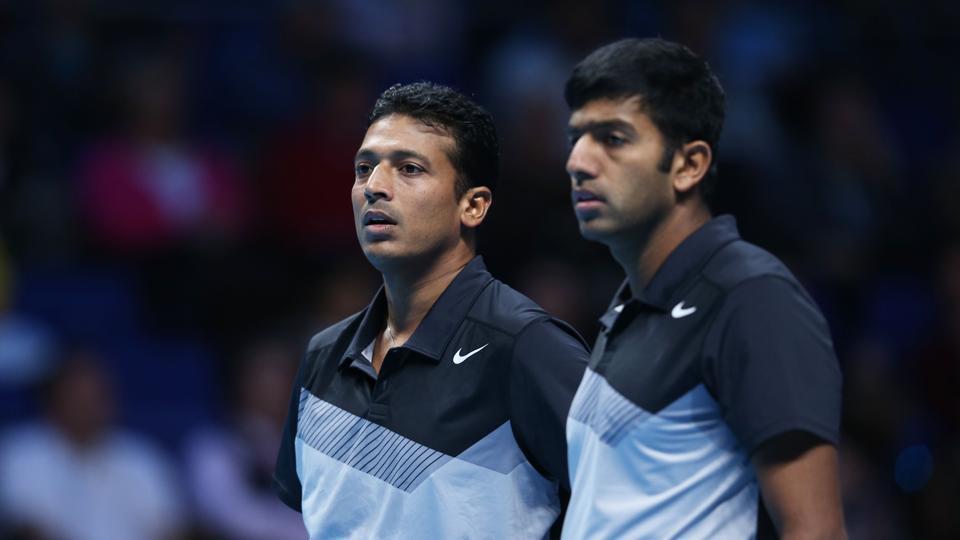 Mahesh Bhupathi and Rohan Bopanna during the 2012 ATP World Tour Finals.