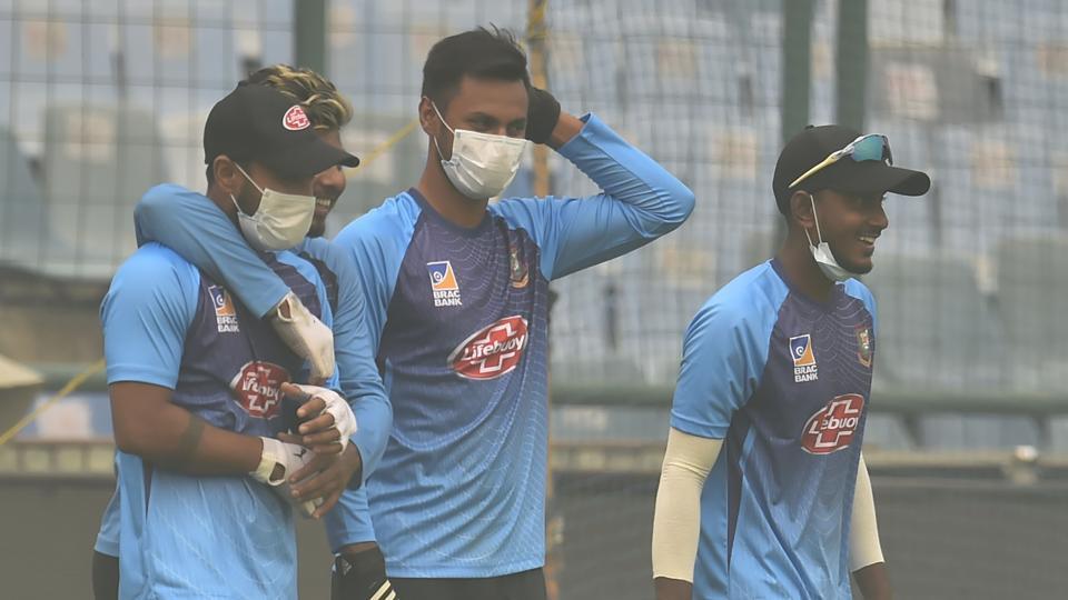 Bangladesh cricket players during a practice session at Arun Jaitley Stadium.