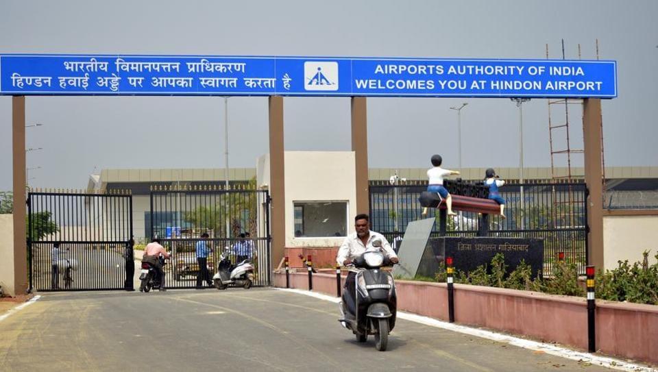 The entrance to the civil terminal near Hindon Air Base near Sikandarpur in Ghaziabad.