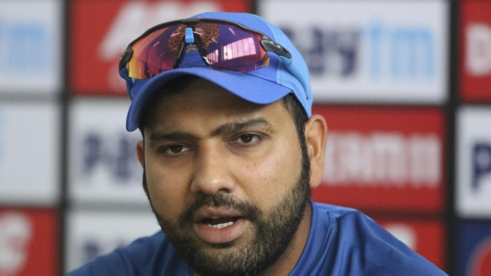 Indian captain Rohit Sharma speaks during a press conference.