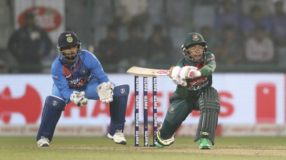 Mustafiqur Rahim plays a shot against India during the first T20 match at the Arun Jaitley stadium.