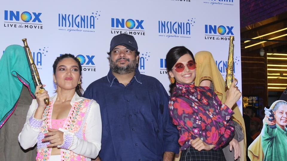 Tushar Hiranandani with actors Bhumi Pednekar and Taapsee Pannu at the trailer launch of their film Saand Ki Aankh.
