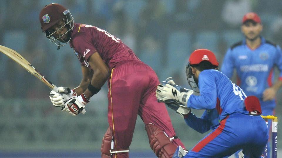 West Indies batsman Roston Chase plays a shot.