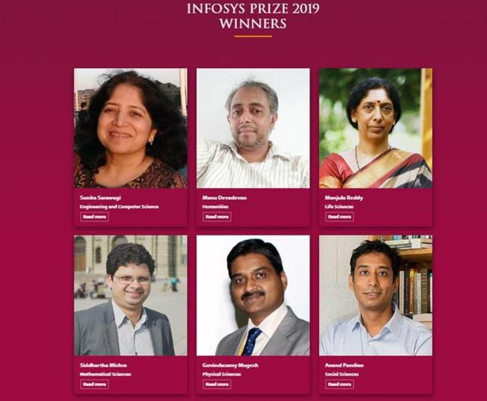 Winners of the Infosys Prize 2019.