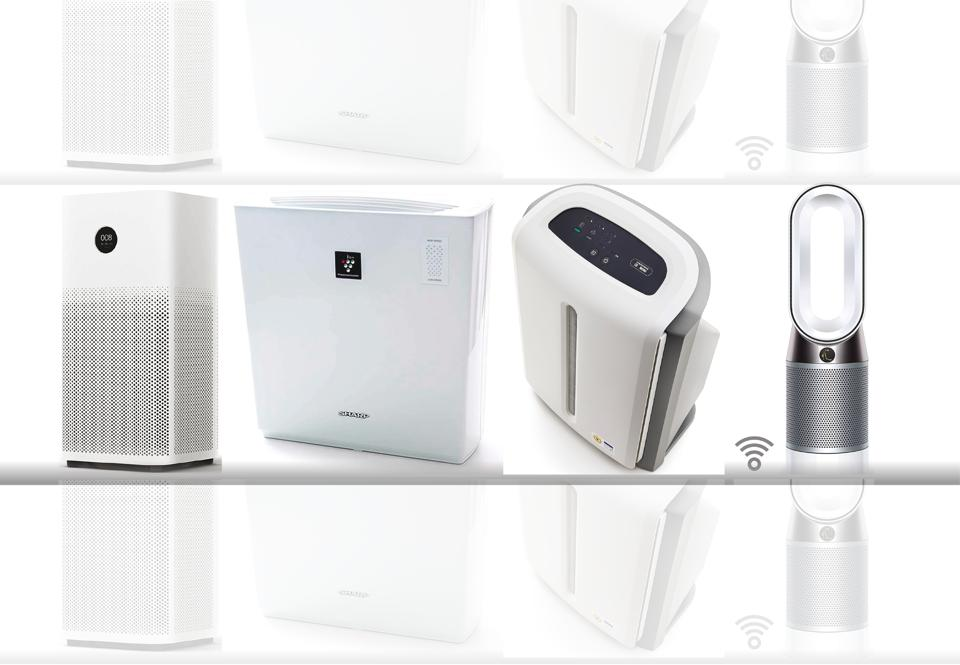 (From left) Xiaomi, Sharp, Amway Atmosphere-Mini and Dyson air purifers