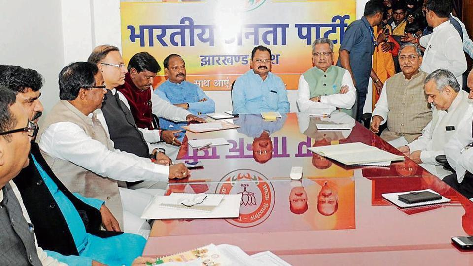 CM Raghubar Das, Union minister Arjun Munda, state BJP chief Laxman Gilua, BJP assembly election in-charge Om Prakash Mathur and other senior party leaders attend the state election committee at state BJP headquarters in Ranchi, Noveber 6, 2019.