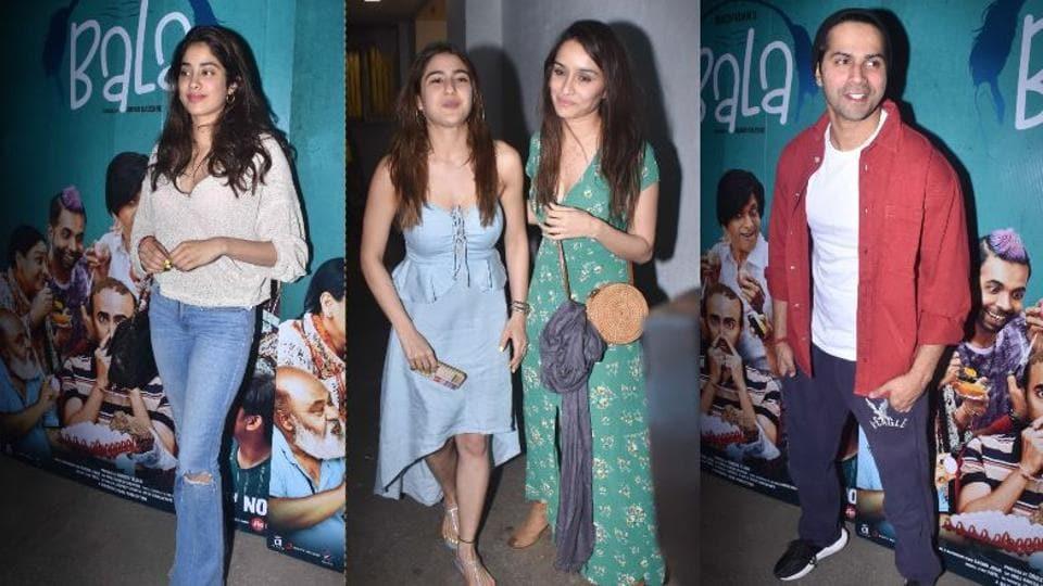 Janhvi Kapoor, Sara Ali Khan, Shraddha Kapoor and Varun Dhawan at Bala screening in Mumbai.