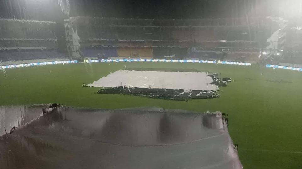 Heavy rains lashed out at the Saurashtra Cricket Association Stadium on Wednesday due to the affects of Cyclone Maha.