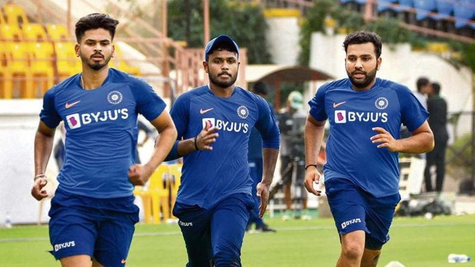 India captain Rohit Sharma (R) with teammates Shreyas Iyer (L) and Sanju Samson during a practice session ahead of the second T20 match against Bangladesh in Rajkot. The hosts lost the first game of the three-match series by seven wickets.