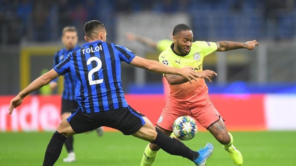 Champions League - Group C - Atalanta v Manchester City - San Siro, Milan, Italy - November 6, 2019 Manchester City's Raheem Sterling in action with Atalanta's Rafael Toloi