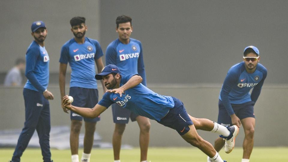 File image of players of Indian cricket team in action during a training session.