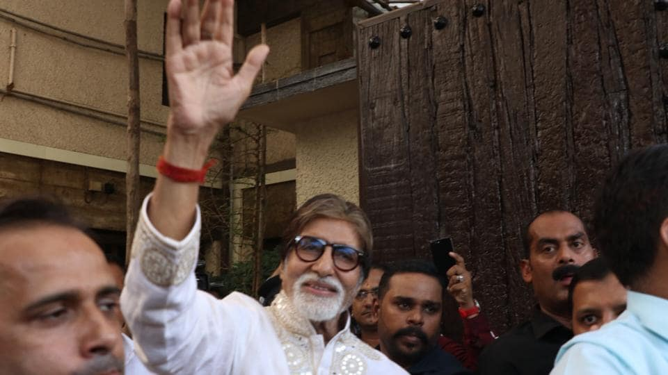 Amitabh Bachchan greets fans who gathered outside his residence Prateeksha to wish him on his 77th birthday, in Mumbai on Oct 11, 2019.