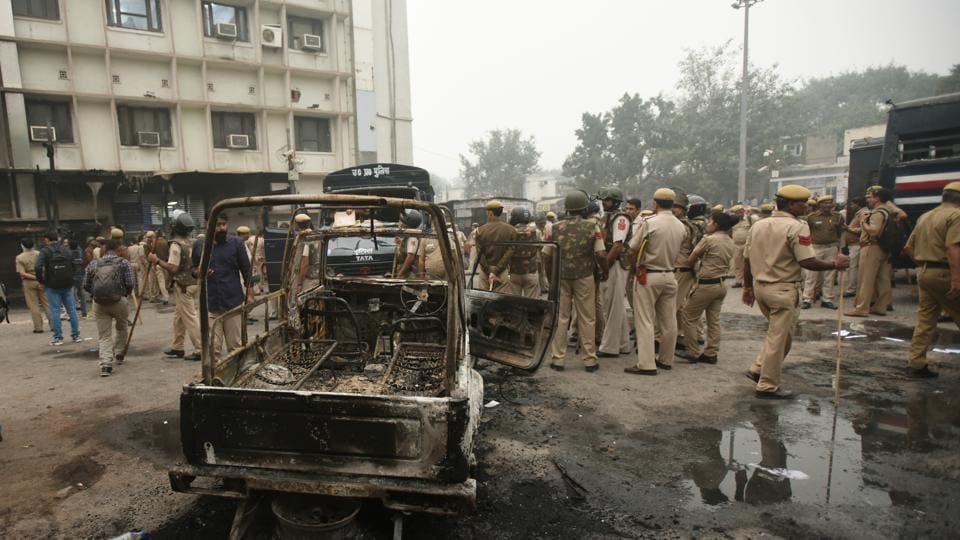 A burnt police vehicle inside the Tis Hazari Court Complex, New Delhi, November 2, 2019