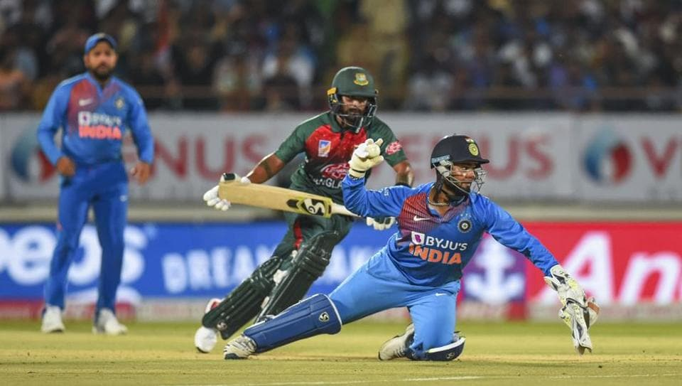 Bangladeshi player Liton Das being run out by Indian wicket-keeper Rishabh Pant