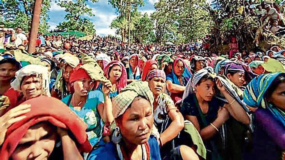 Bru refugees protest at Kanchanpur in North Tripura district on Thursday.