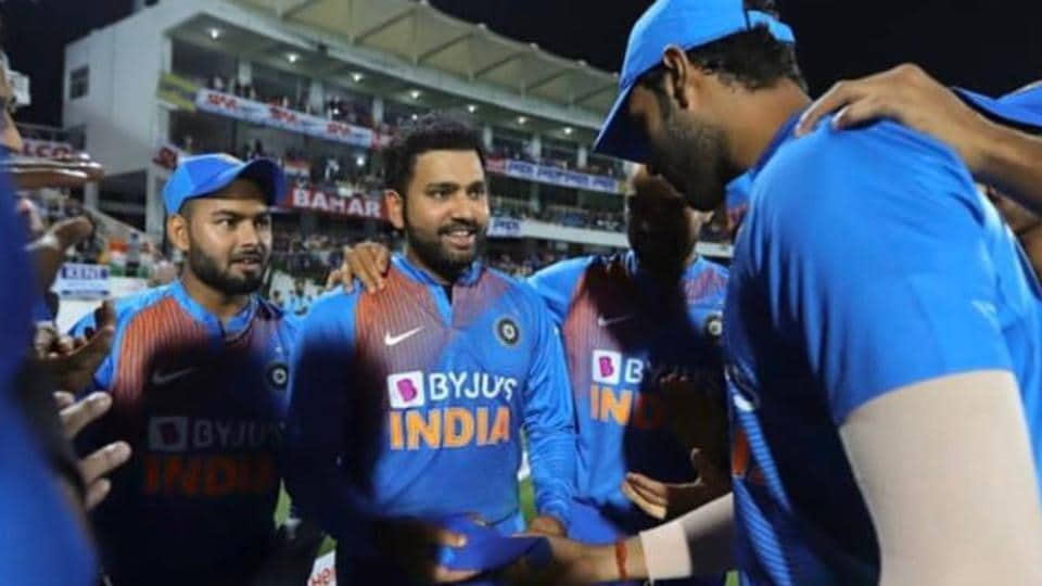 Rohit Sharma was handed over his 100th T20I cap by Shivam Dube