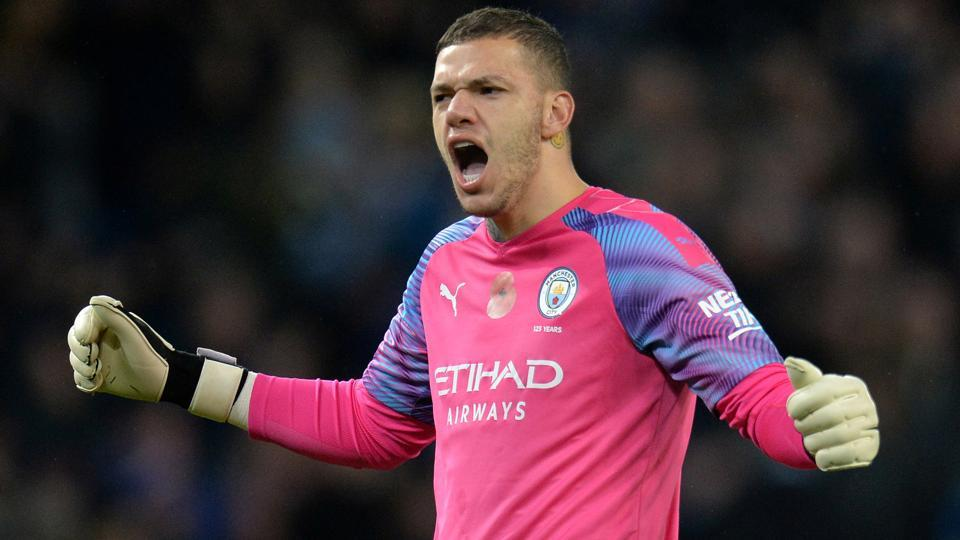 Manchester City's Ederson celebrates after the match.