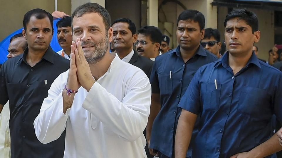 Congress leader Rahul Gandhi accompanied by Special Protection Group (SPG) in Surat.