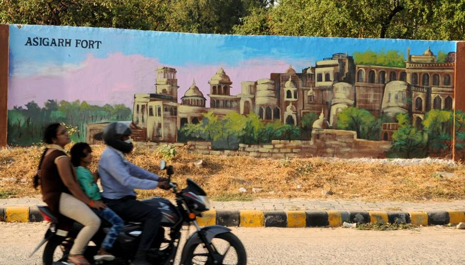 A set of seven panels near the  Mini Secretariat, in Gurugram depict some of famous monuments of Haryana.