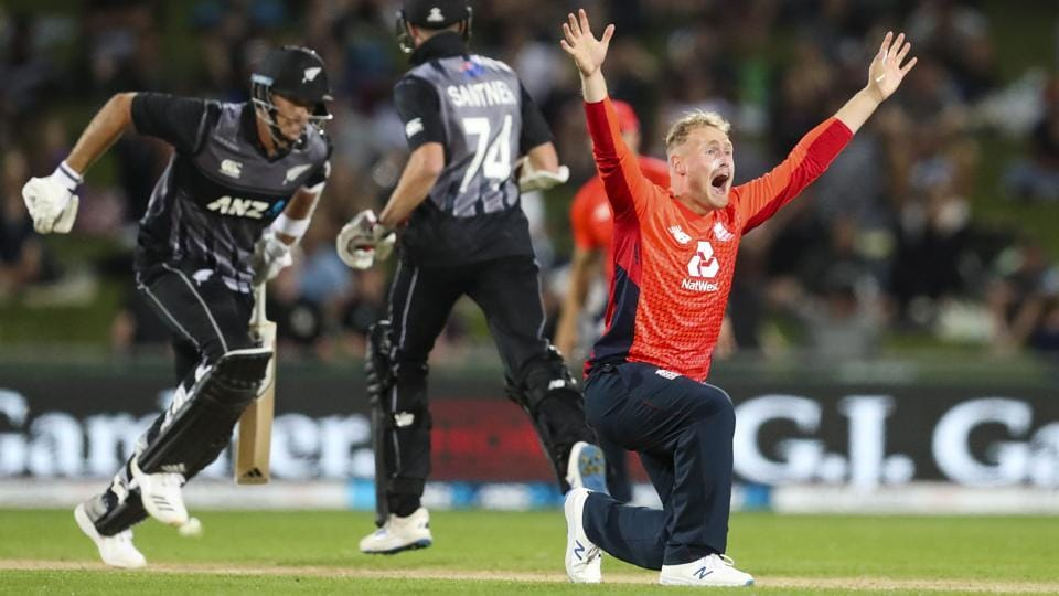 England bowler Matt Parkinson appeals successfully for the wicket of Tim Southee during the T20 cricket match between England and New Zealand in Napier, New Zealand, Friday, Nov. 8, 2019