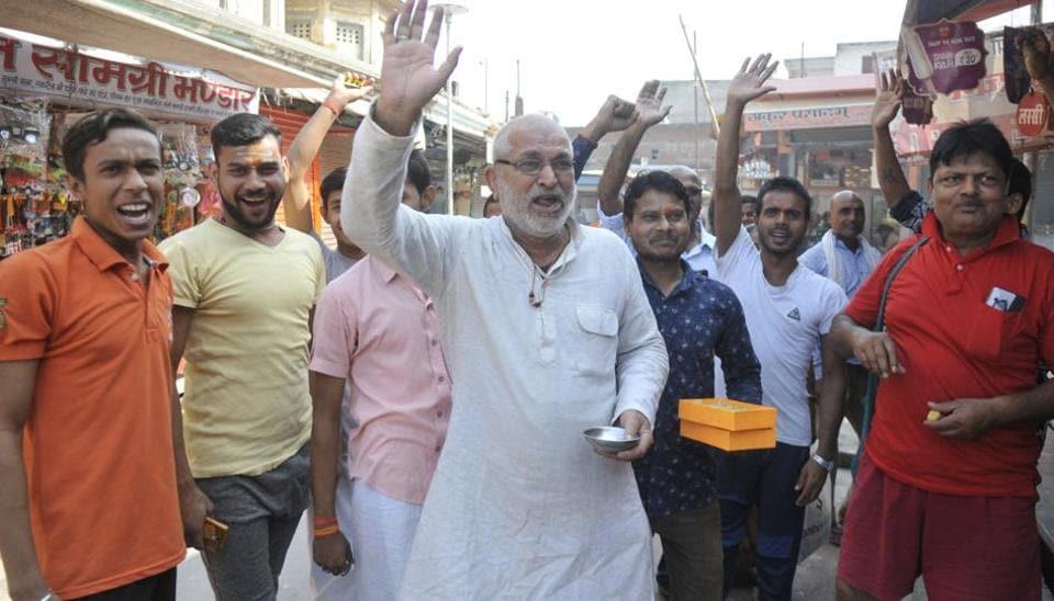 People of Ayodhya celebrating at SC verdict on the Ayodhya issue, Hanuman Garhi, Ayodhya, November 9, 2019.