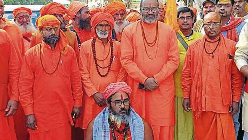 Seers carried out a march in Haridwar, Uttarakhand, onFriday, November 8, 2019, urging the people to respect the SCruling in theAyodhya case.