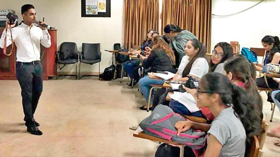 A media class in progress at a Ludhiana college. A survey found that while more women are seen as news anchors,  more male reporters are seen covering politics.
