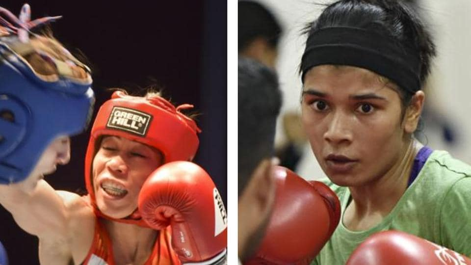 Nikhat Zareen and Mary Kom in action.