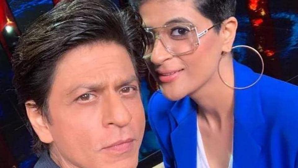 Shah Rukh Khan poses with Tahira Kashyap on sets of TED Talks.