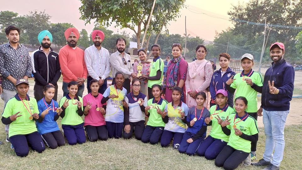 Ludhiana team after winning the Punjab State Baseball Championship at Government Girls Senior Secondary School, Gill Village, in Ludhiana on Saturday.