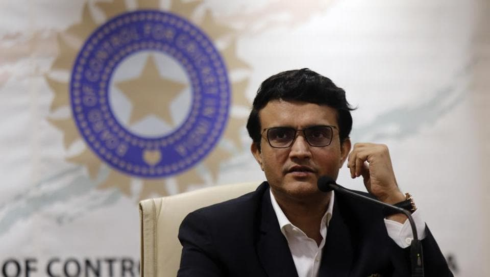 Newly-elected President of the BCCI Sourav Ganguly attends a press conference after taking charge in Mumbai.