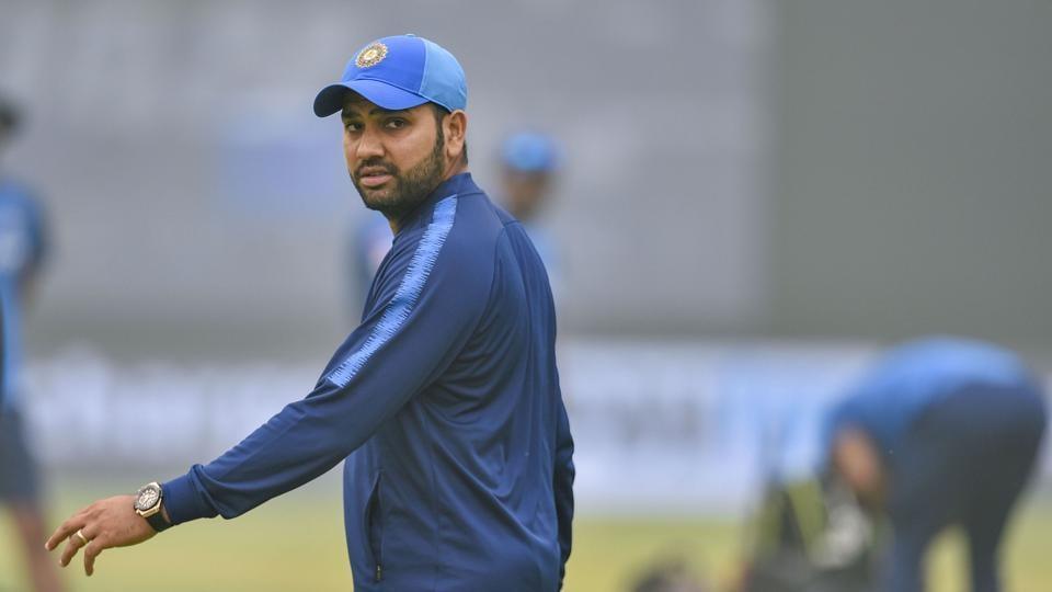 Rohit Sharma during a practice session at Arun Jaitley Stadium.