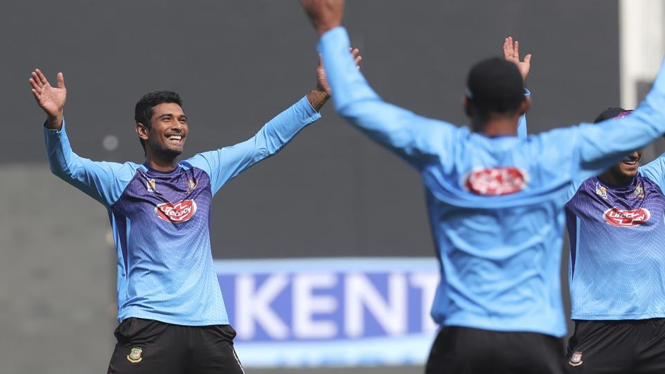 Bangladesh captain Mahmudullah warms up during a practice session.