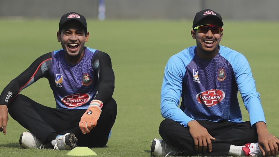 Bangladesh's Soumya Sarkar  and Mushfiqur Rahim attend a practice session.