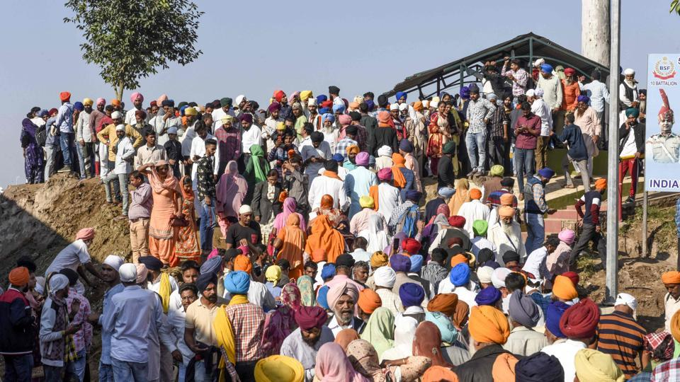 Sikh devotees during the inauguration ceremony in Kartarpur, near the Indian border. Giani Harpreet Singh of the Akal Takht led the 500-member Indian delegation that also includes former Prime Minister Manmohan Singh, Punjab Chief Minister Amarinder Singh, Union minister Harsimrat Kaur Badal, her husband and Shiromani Akali Dal chief Sukhbir Badal and several ministers, MPs and MLAs from Punjab. (Narinder Nanu / AFP)