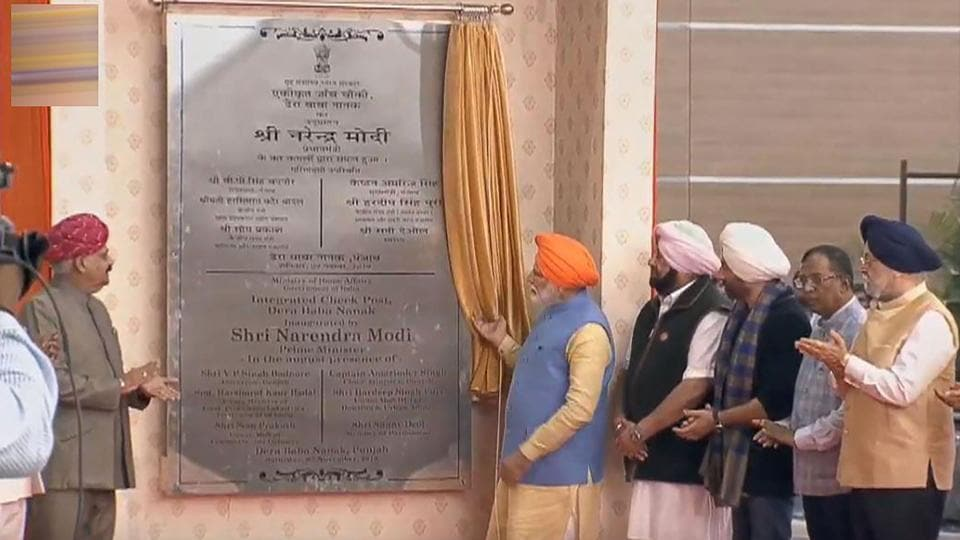 Prime Minister Narendra Modi unveils a plaque during the inauguration of the integrated check-post of Kartarpur Corridor at Dera Baba Nanak in Gurdaspur. Modi wore an orange headscarf and offered prayers at Punjab's Ber Sahib Gurdwara at Sultanpur Lodhi on Saturday morning before heading to Dera Baba Nanak in Gurdaspur for the historic opening of the Kartarpur corridor that will link two shrines. (PTI)